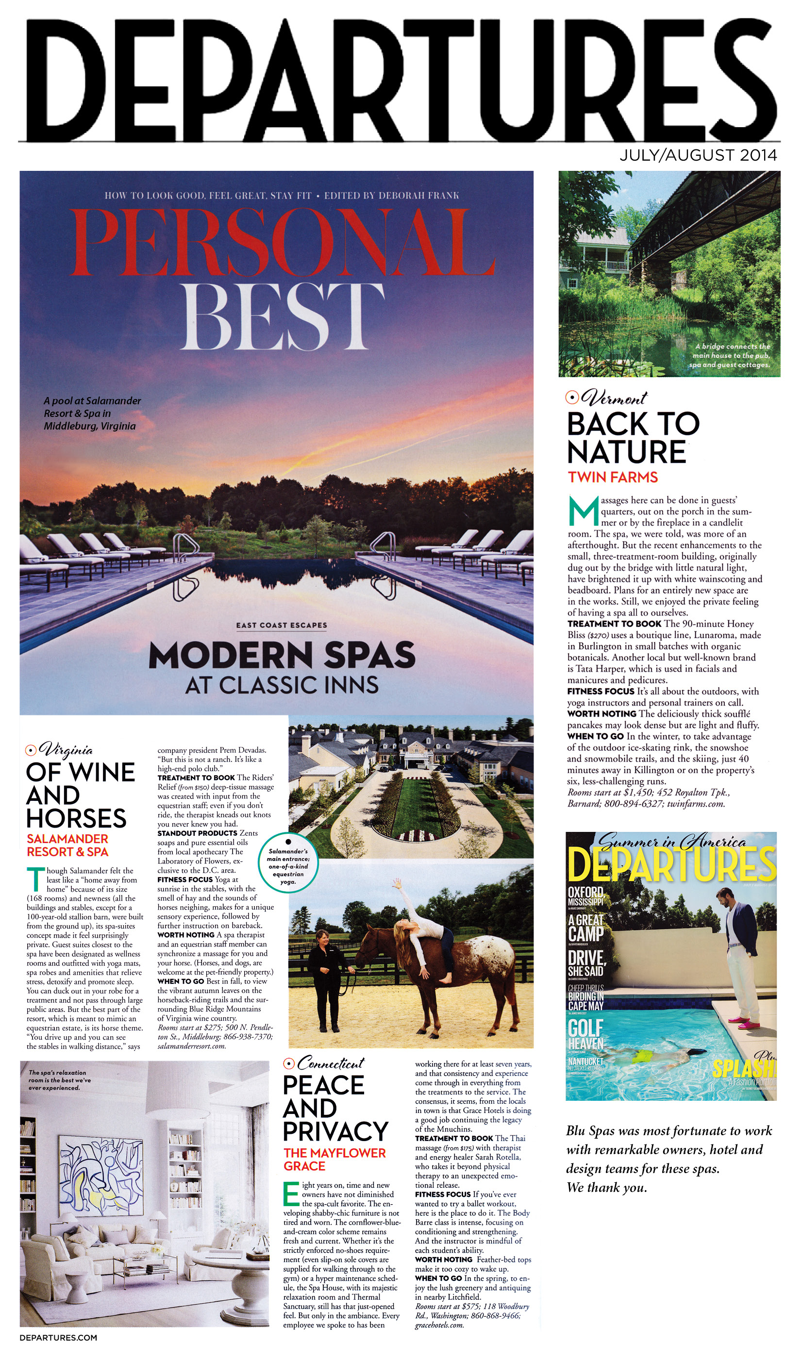 Departures Magazine - Modern Spas at Classic Inns