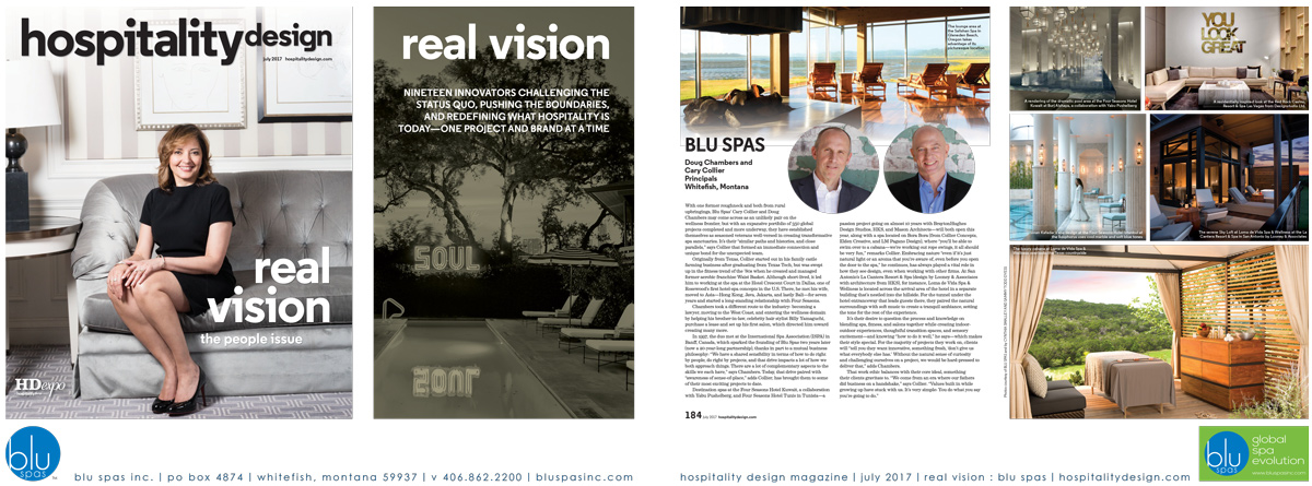 Hospitality Design - Blu Spas Article
