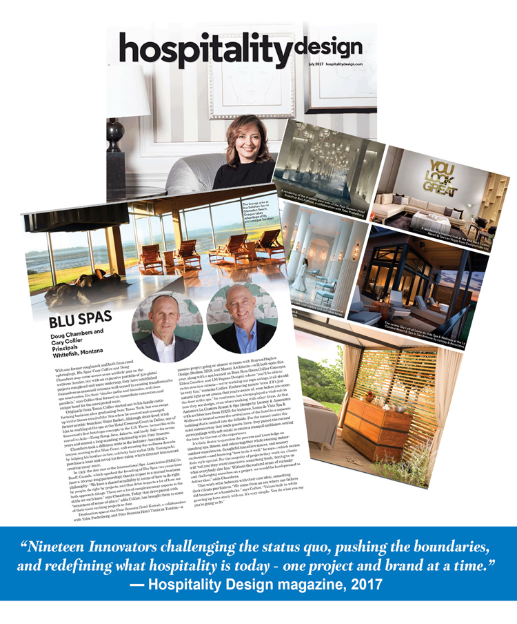 Hospitality Design Cover with Blu Spas article