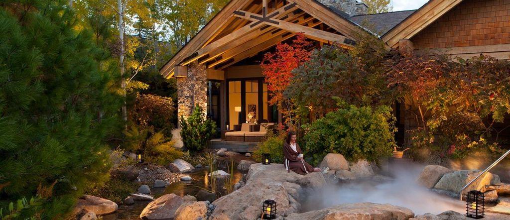 Natural outdoor setting spa at Suncadia Resort