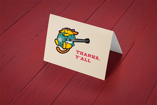 These cute thank you cards get a  bright magenta envelope too.