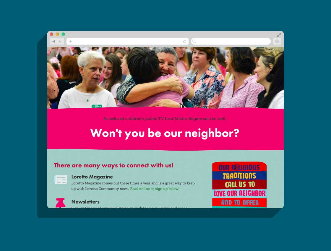 Screenshot of the LorettoCommunity.org website, featuring colorful graphics and photos