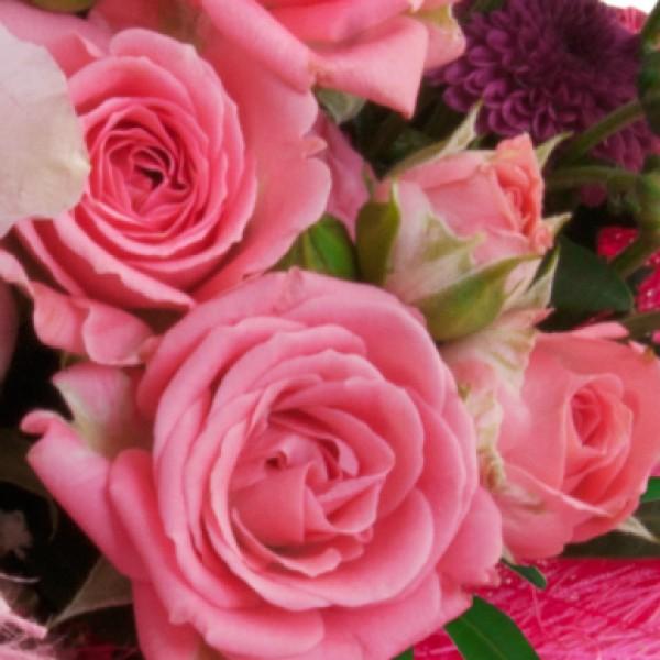 Blumenstrau Von Herzen RosaLila Blumenversand  Bluvesa
