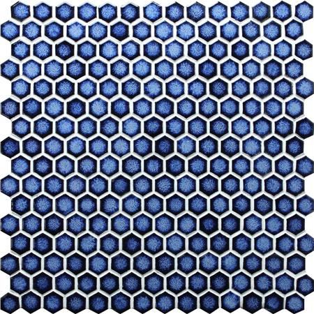 Hexagon Dark Blue BCZ607, Mosaic tile, Pool tile, Blue