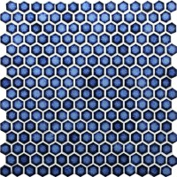Hexagon Dark Blue BCZ607, Mosaic tile, Pool tile, Blue