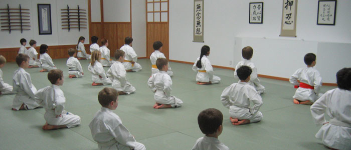 Kids in seiza- Children's martial arts