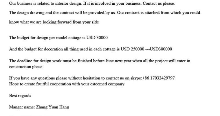 Truffa cinese agli interior designer