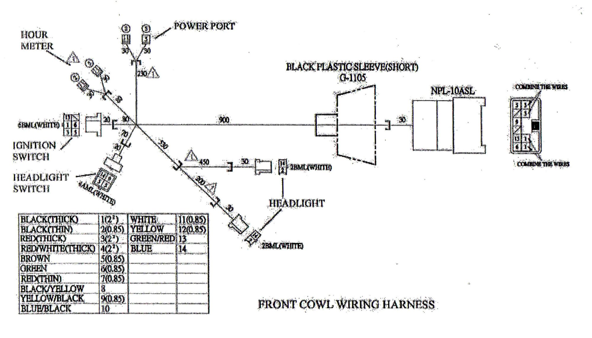 hight resolution of wiring diagram for the front cowl to the yerf dog cuv