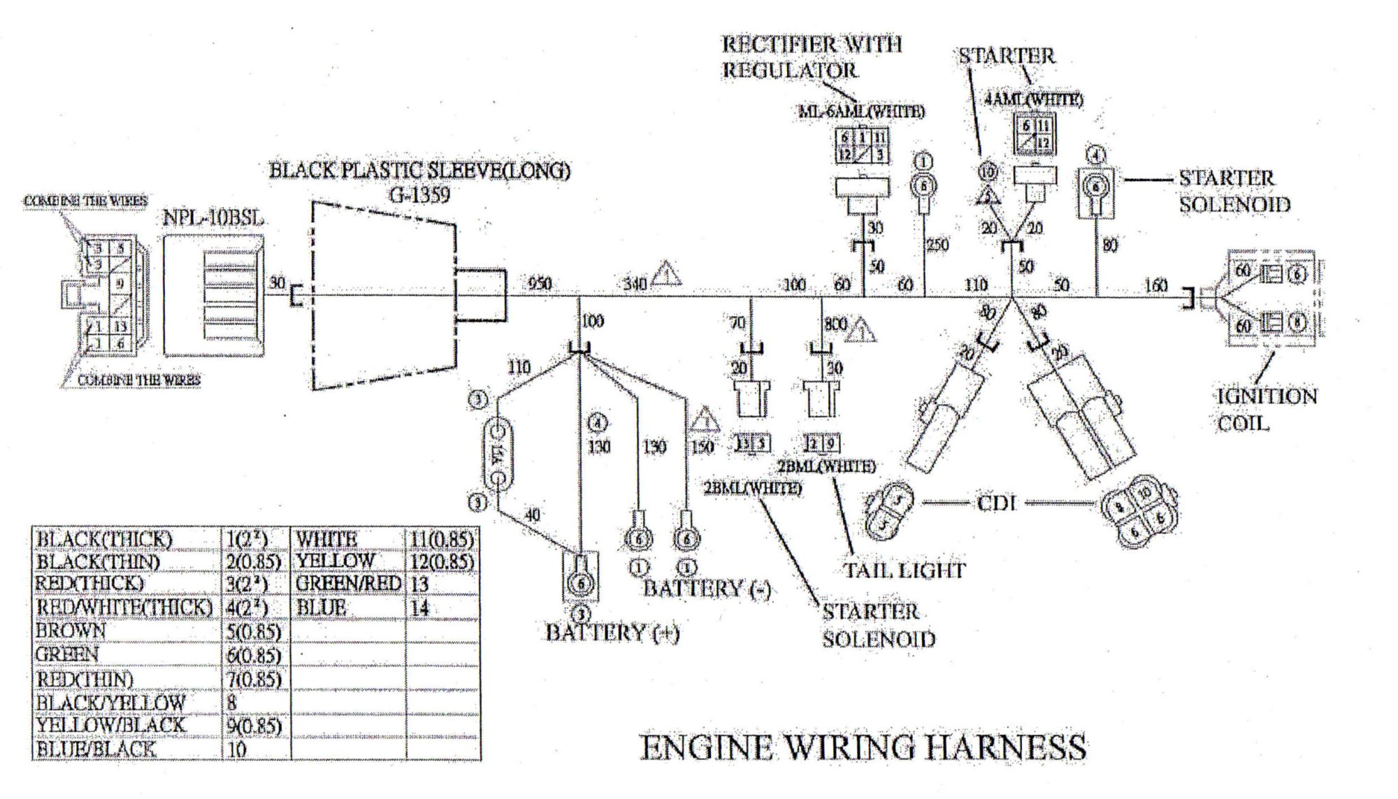 hight resolution of engine wiring harness for yerf dog cuvs 05138 bmi karts and partswiring diagram for the engine