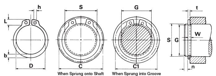 External Retaining Snap Ring Dimensions