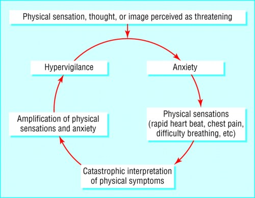small resolution of cognitive model of panic symptoms hypervigilance and anxiety spiral into panic attack patients develop fear of fear and avoid situations where they