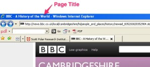 Page Title in Microsoft Internet Explorer