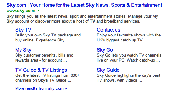 Sky TV search 1
