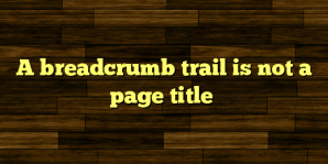 A breadcrumb trail is not a page title