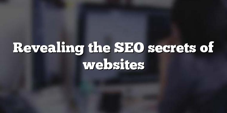 Revealing the SEO secrets of websites