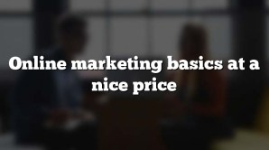 Online marketing basics at a nice price