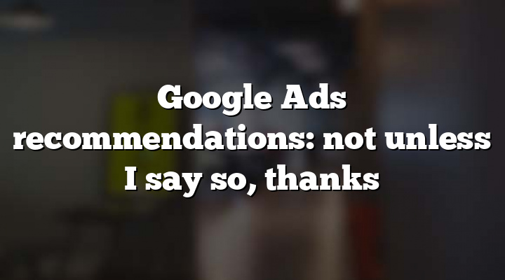Google Ads recommendations: not unless I say so, thanks