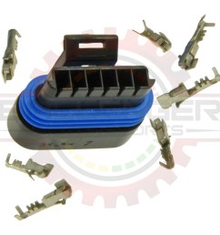 description associated mating parts applications specifications gm delphi packard 6 way metripack 150 2 connector plug kit  [ 1024 x 1024 Pixel ]