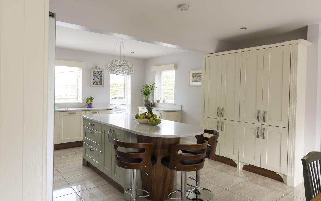 Kitchens Newry  Ivory Shaker Kitchen With Sage Green Island