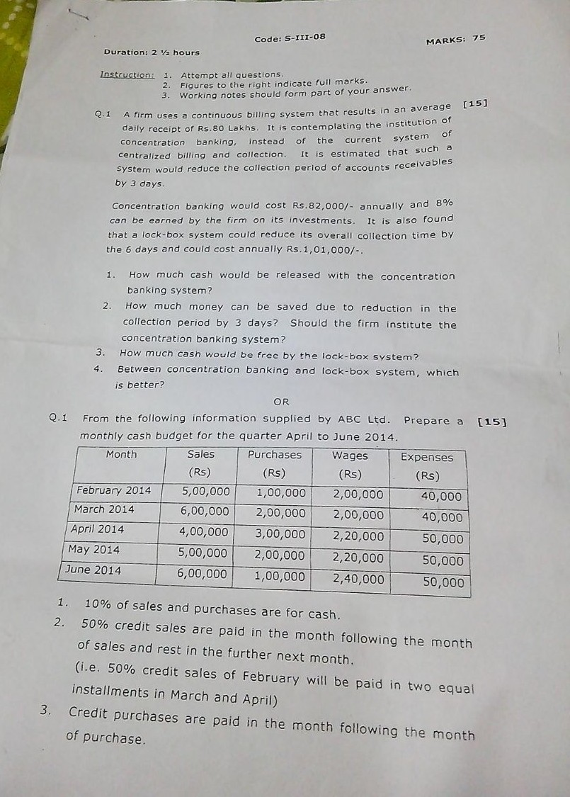 Financial Management Prelims Question Paper 2014
