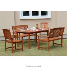 Jakarta Wooden Patio Set 5pc Garden & Outdoor Furniture