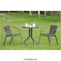 Venice Rattan Effect Bistro Set 3pc Garden Furniture