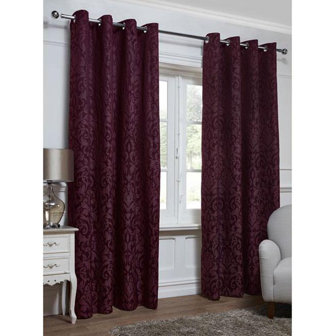 Georgia Textured Leaf Fully Lined Eyelet Curtain  66 x 72