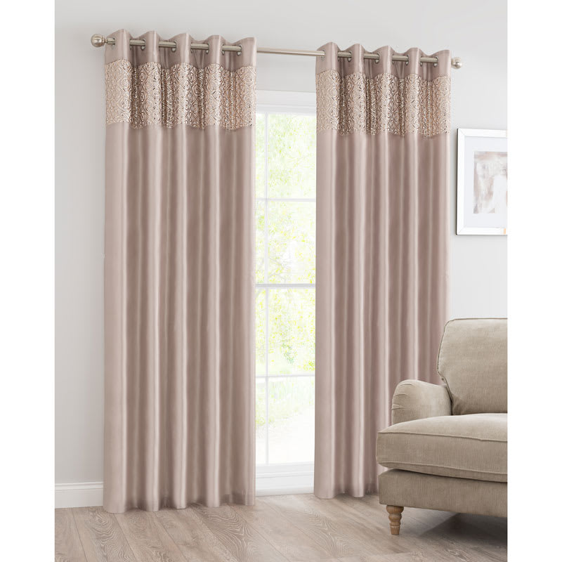 BM Luxor Sequin Top Border Thermal Eyelet Curtain 66 x 72