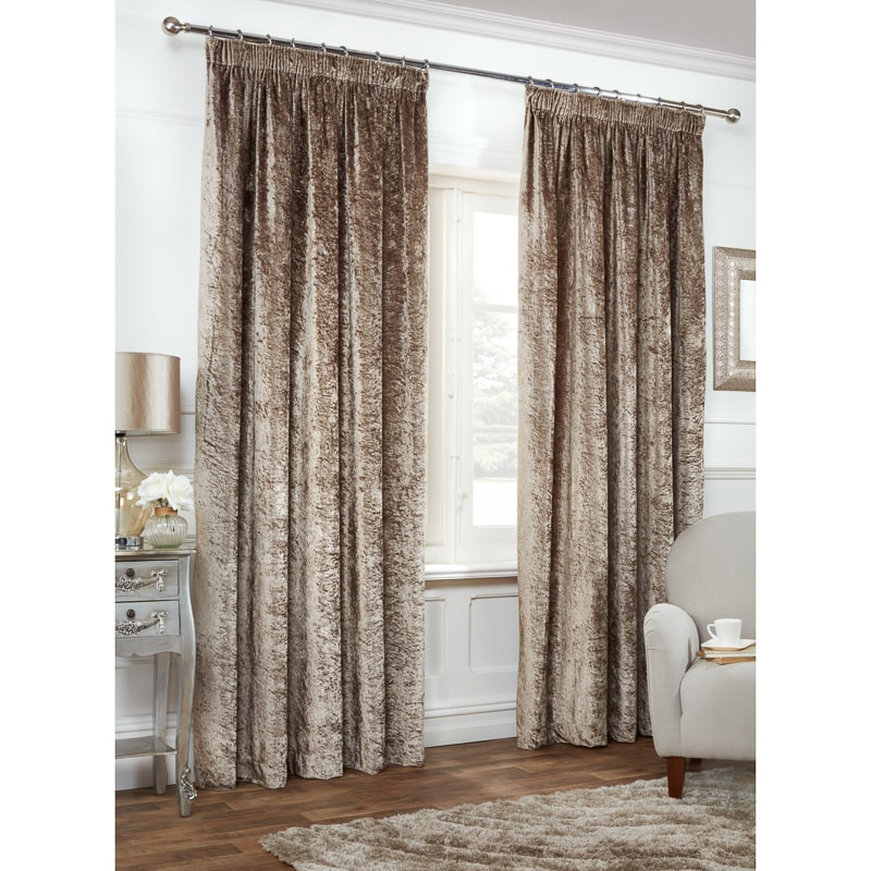 Versailles Crushed Velvet 3 Tape Fully Lined Curtain 90 X 90 BampM