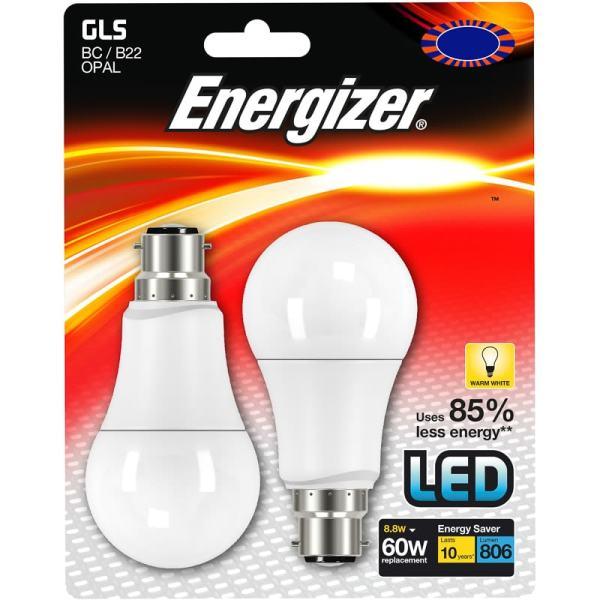 Energizer 60W B22 White Bulb 2pk Lighting BampM