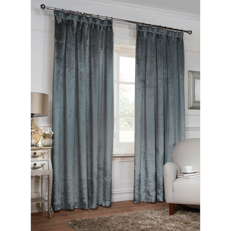 Versailles Crushed Velvet 3 Tape Fully Lined Curtain 66 x