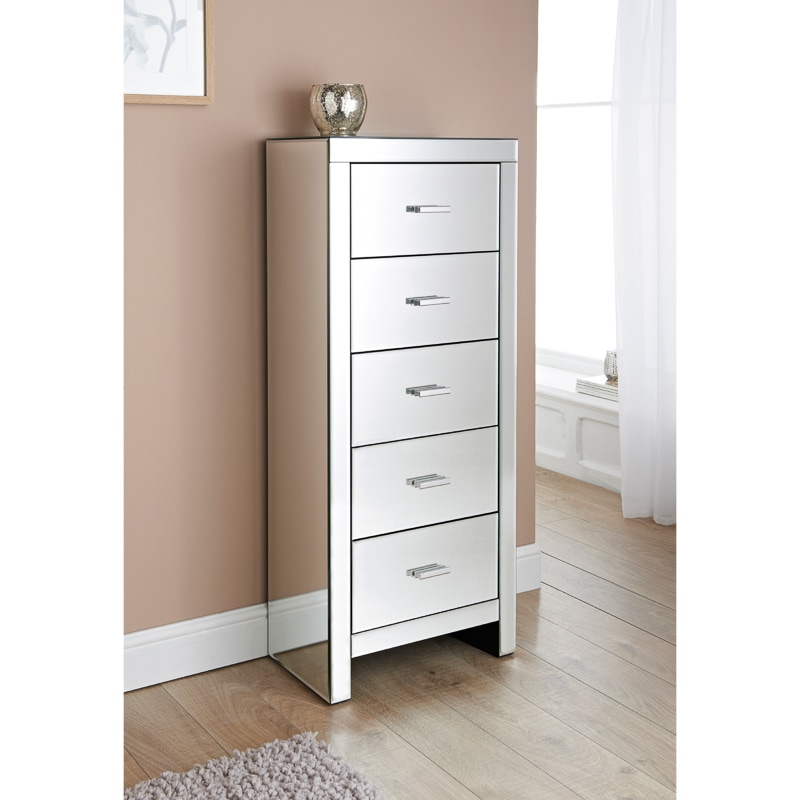 Florence Mirrored 5 Drawer Tall Chest  Bedroom Furniture