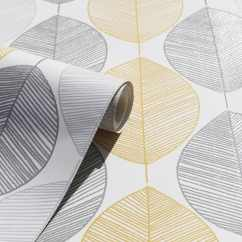Living Room Wall Colours Grey How I Decorate My Scandi Leaf Wallpaper - Yellow | B&m