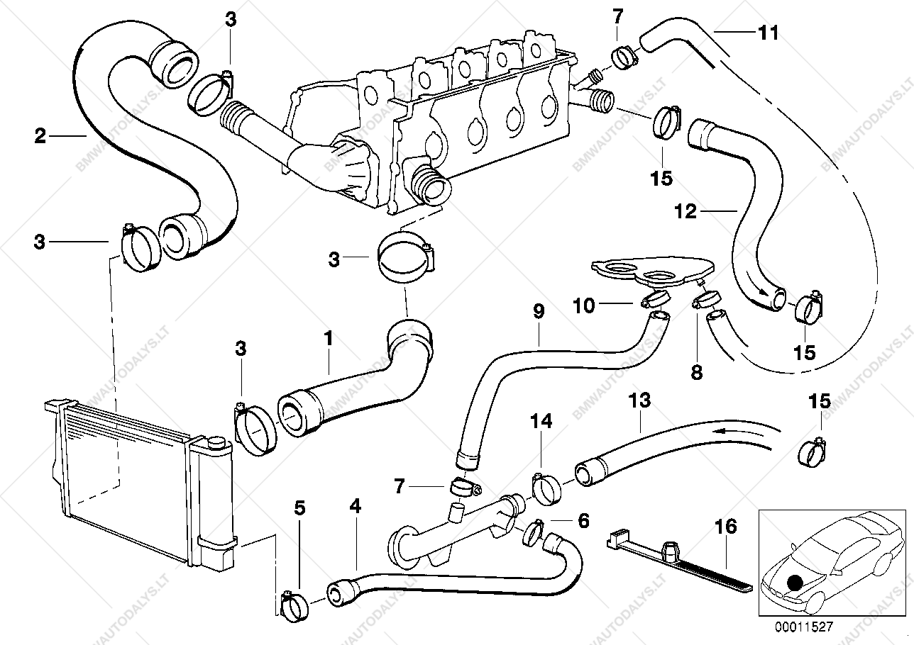 Parts list is for bmw 3' e36 316i 1 6 pact ece 1994 11