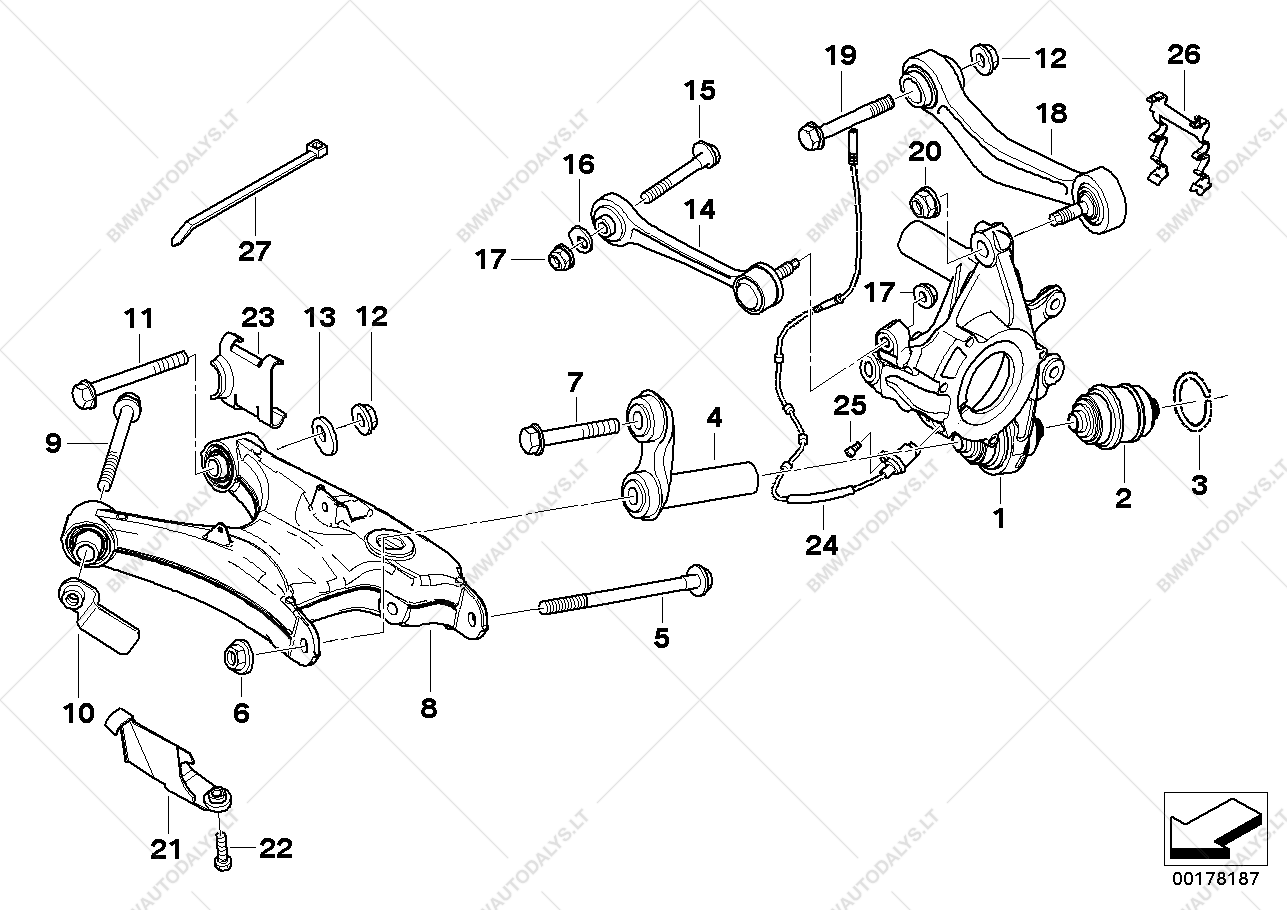 hight resolution of rear axle support wheel suspension for bmw 5 e39 525d sedan ece bmw x5 rear suspension parts diagram on bmw e39 suspension diagram