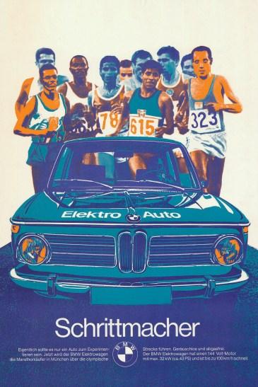 El primer BMW 100% eléctrico se desarrolló sobre un 1600-2 y fue presentado en los Juegos Olímpicos de 1972 en Alemania