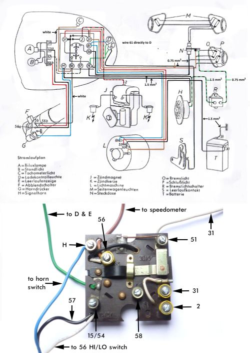 small resolution of wiring diagram bmw r51 3 r68 1953 1955 with brake light