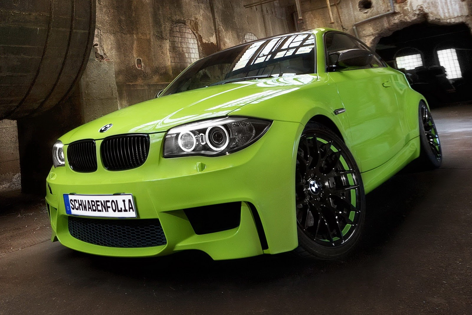Schwabenfolia Wraps The Bmw 1 Series M Coupe In Lime Green Bmwcoop
