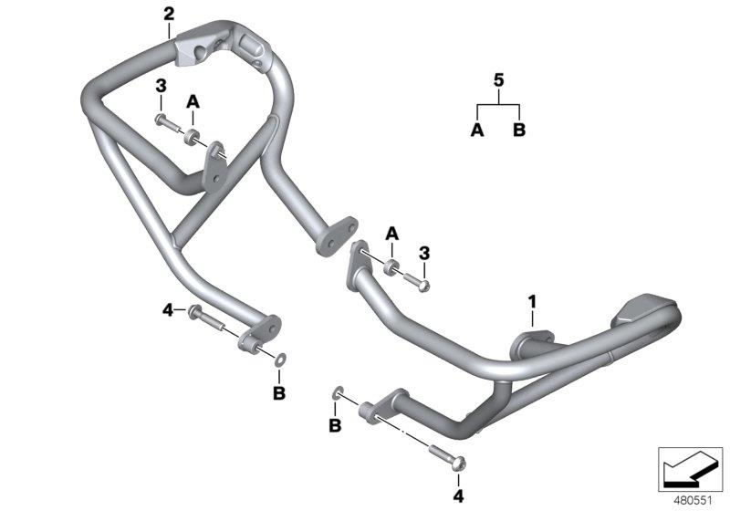 BMW R1200R Right engine protection bar. Reinforcement