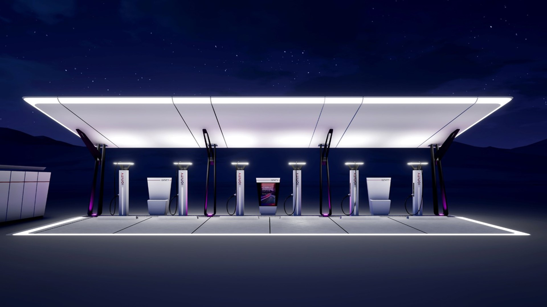 ionity charging station by night