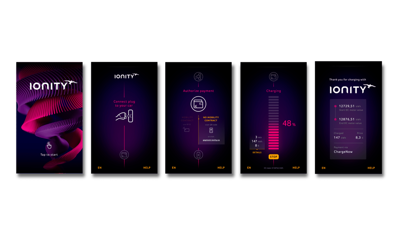 ionity charging station display screenshots