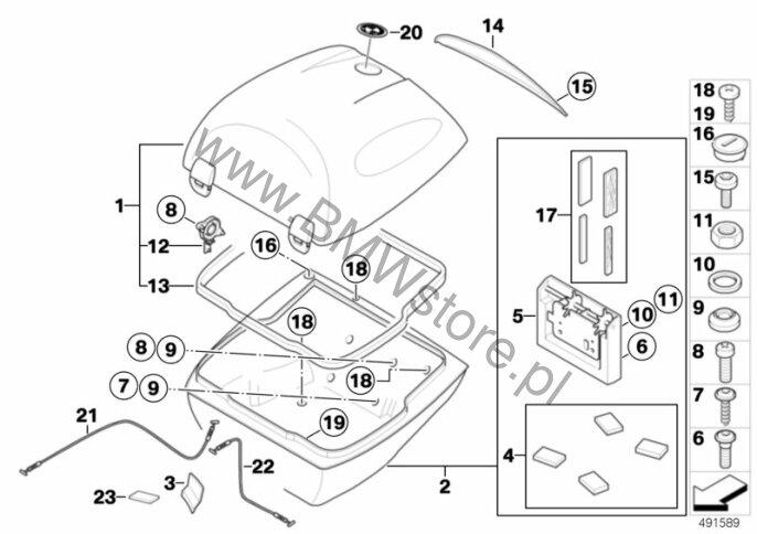 Poj. części kufra centralnego 28l BMW K71 (F 800 S, F 800