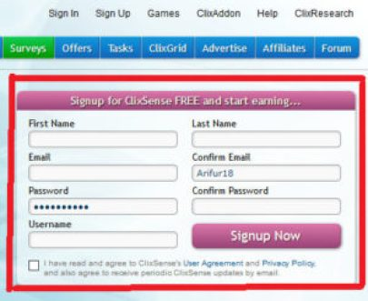 ClixSense Sign Up