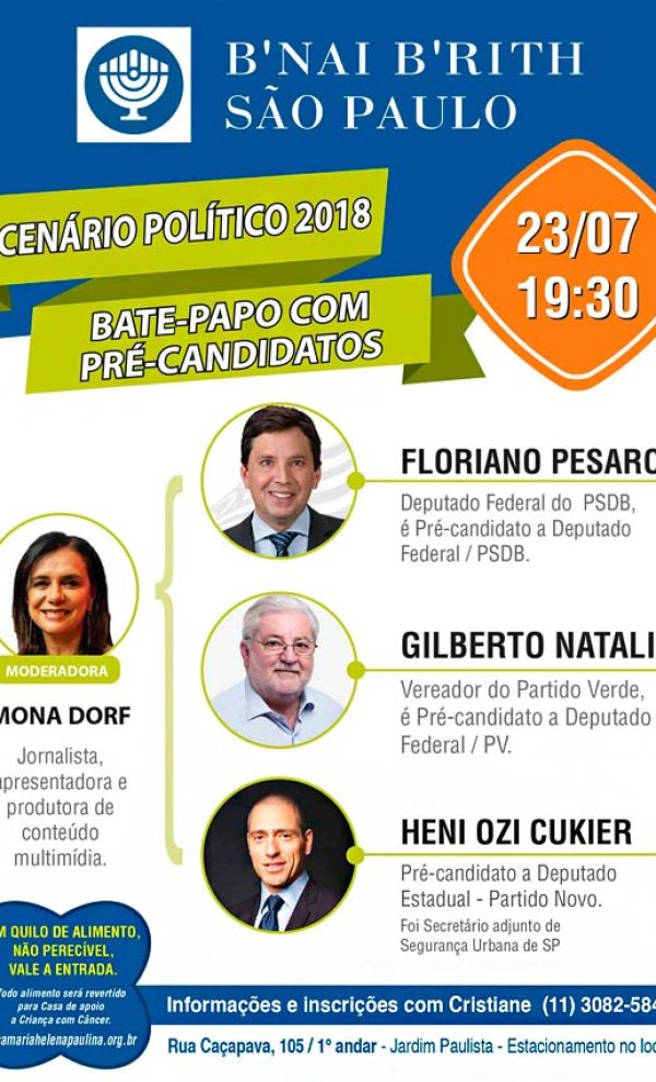 Cenário Político 2018 - Bate-Papo com pré candidatos - 23/07 - 19:30
