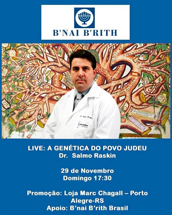 A genética do povo judeu, anote na agenda, dia 29 de novembro, às 17h30.