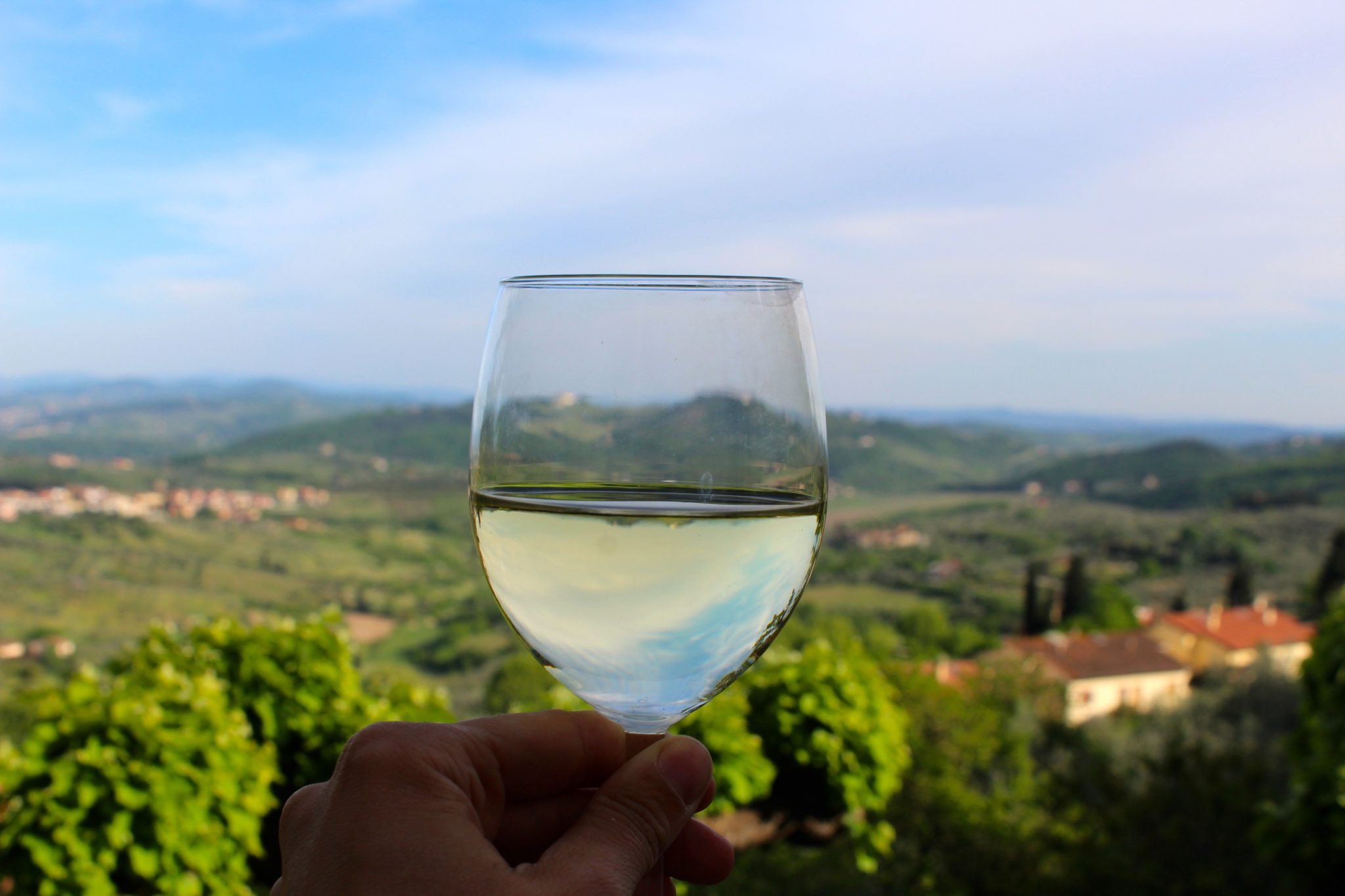Drinking Wine at our B&B La Rocca in Carmignano, Tuscany (Italy)