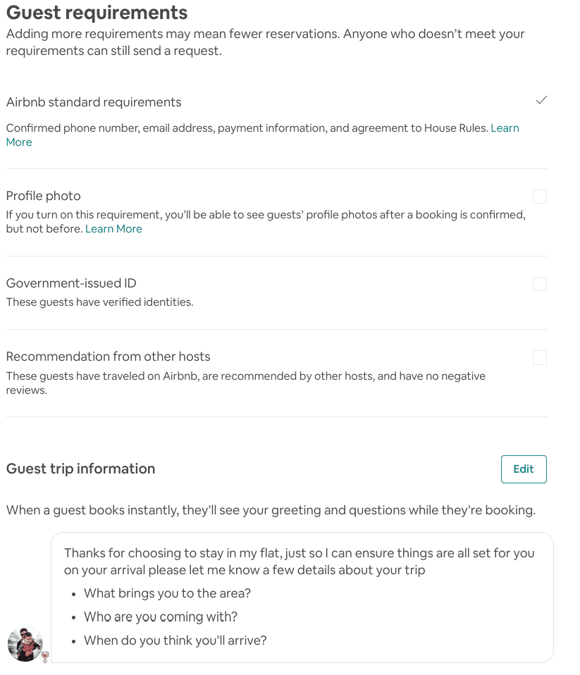Set Airbnb Booking Requirements