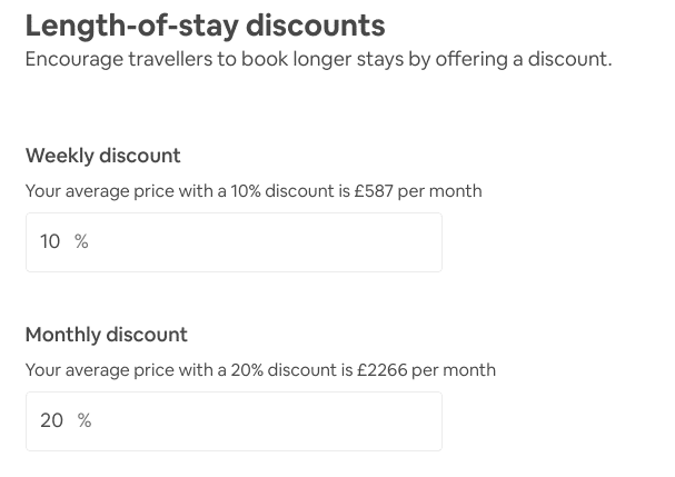 offer weekly or monthly discount on AIrbnb