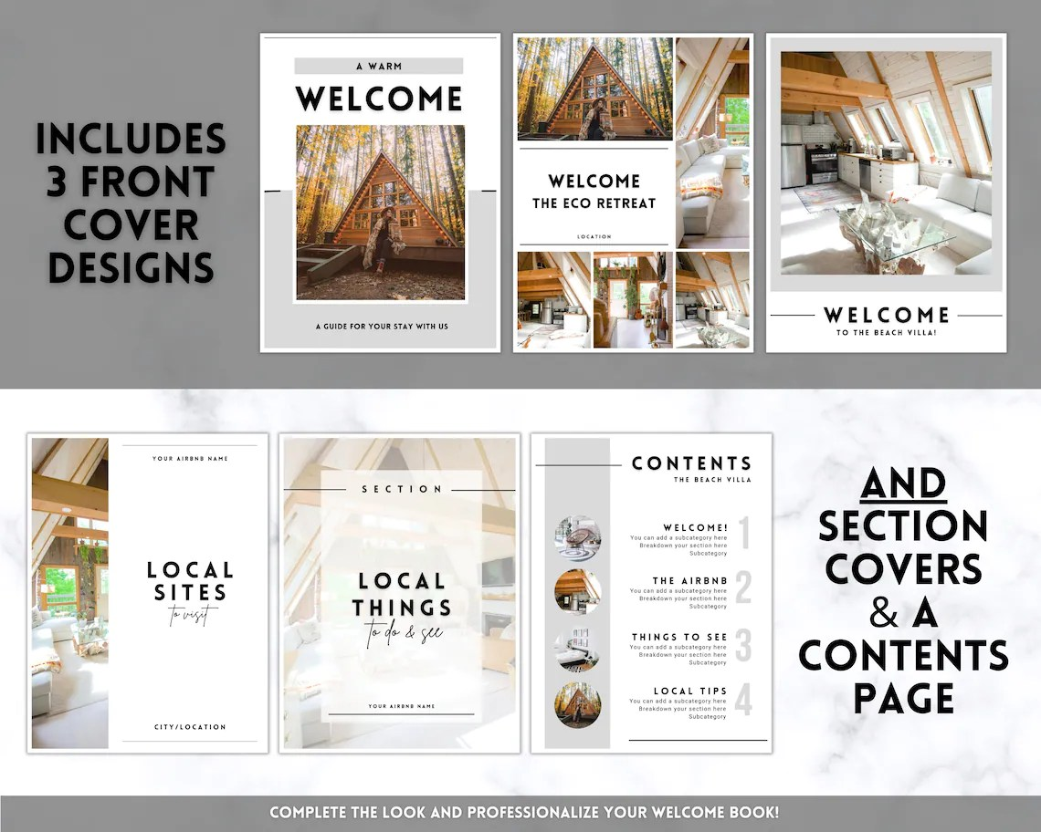 Airbnb Welcome Template, Editable Welcome Guide, House manual