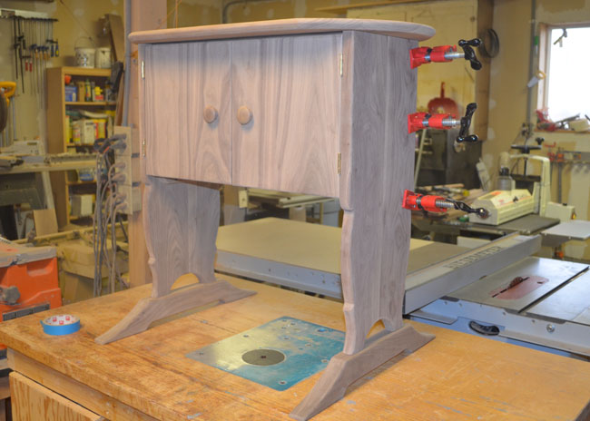Walnut cabinet before staining